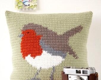 Christmas Pillow, Crochet Pattern, Robin Cushion, Drops Wool Yarn, Double Knit, Easy to Make, Intarsia Crochet, Bird Decor, Homemade Gift