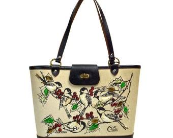 Vintage Enid Collins of Texas Six Chix Bird Purse // 1960s Novelty Tote Bucket Handbag, Chickadee Birds, Green Holly Leaves, Red Berries