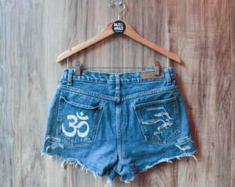 High waist vintage denim shorts | Ripped distressed shorts | Om symbol denim shorts | Yoga meditation shorts | Festival bohemian shorts