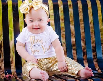 Baby girl 1st New Year- First New Year Shirt- Girl New Year Outfit- Gold Sequin Pants- Baby Girl New Year Dress- 1st New Year's Shirt