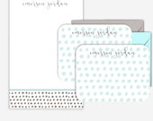 Blue and Grey Patterned Personalized Stationary Set Personalized Notepad Personalized Note Cards Monogram Stationery Pattern Stationary Gift