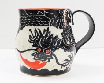 Handmade MUG 5-Toed Asian DRAGON  Pottery Mug SGRAFFITO Carved Artist's Design,Coffee Tea Cup Mug,Customize Color - Black, Red Tongue Eyes