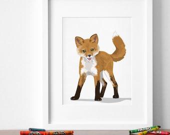 fox art print, woodland nursery artwork, baby forest animal print, childrens fox ilustration - fox nursery art