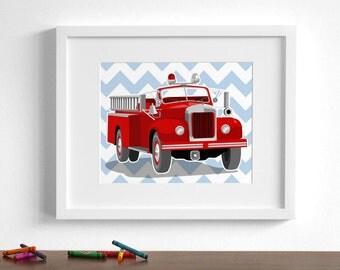 Fire truck art - fireman children's wall art - pick your colors - boys nursery art prints, Vintage fire truck art