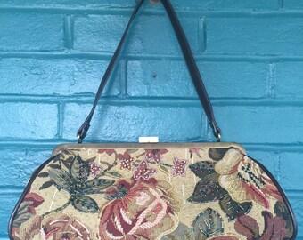 Vintage Style Beaded Roses Tapestry Purse/ Handbag - Carpet Bag