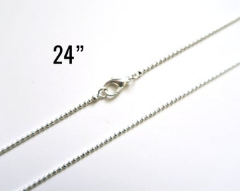 "12 1.5mm Ball Chain Necklaces - WHOLESALE - 24"" - Silver Plated - Ships IMMEDIATELY from California - CH590a"
