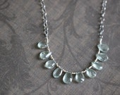 FLASH SALE Moss Aquamarine Necklace, Aquamarine, Gemstone Necklace, Aqua Blue, Mossy Green, Wire Wrapped, Briolette, Sterling Silver, Chain,