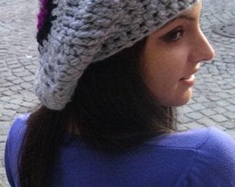 Crochet hat, Crochet beret, Beanie,  crochet hat, knitted beret,  hat  , handmade hat,   art hat,