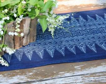 Table Runner In Natural Hmong Indigo Batik Cotton 5 Or 8 Foot, ** Free worldwide shipping **