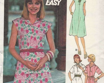 Butterick 4743 Pullover dress or top collar yoke short placket button opening in seam pockets extended/short sleeves Size 14 (uncut)