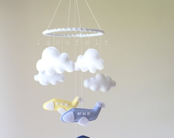 Baby mobile  - airplane mobile - planes mobile - clouds mobile