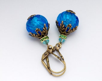 Teal Murano Glass Jewelry, Nickel Free Earrings, Venetian Earrings, Aqua Glass Earrings, Teal Dangle Earrings, Glass Drop Earrings, Duvsha