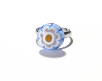 Murano Blue Millefiori Ring, Adjustable Ring, Fused Glass Ring, Venetian Ring, Italian Jewelry, Flower Ring, Silver Plated Ring, For her