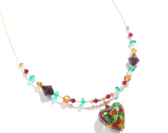 Murano Glass Colorful Heart Gold Necklace, Venetian Glass Heart Necklace, Murano Glass Jewelry, Lampwork Glass Heart Pendant Necklace