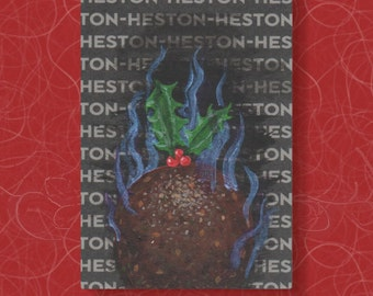 Christmas Pudding ACEO. Small painting of a flaming plum pudding, on recycled card with a Heston Blumenthal pattern