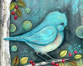 Woodland Bluebird - Bird Wall Art - Bird Home Decor - Blue Bird Wall Art - Bird Art Print - Woodland Nursery - Nature Art - Foyer Wall Art