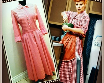 I Love Lucy Red Gingham Dress Size Large 1950s