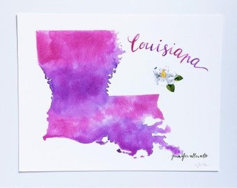 Louisiana watercolor art print state art home decor