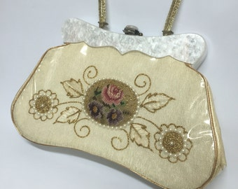 Vintage Vinyl Handbag Lucite Handle Needlepoint Purse Claire Fashions 50s