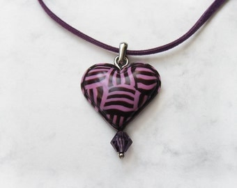 Valentine's Day Gift, Heart necklace, Polymer clay pendant, Heart pendant, Gift for her, Pink heart pendant, Fuchsia jewelry