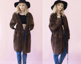 Suede Early 90s Bomber Duster Coat, Vintage Leather Chunky Jacket, 90s Grunge, Women's Size X-Small/Small
