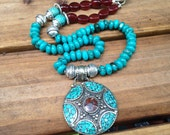 Gemstone Mandala Necklace Tibetan Mandala Turquoise Agate Mandala Necklace