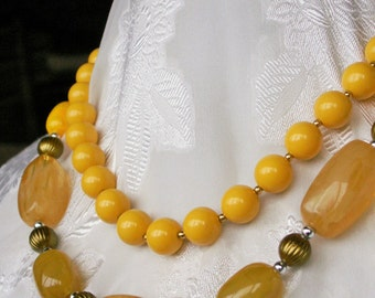 Lot of 2 Vintage Yellow Bead Necklaces Swirled Lucite Beads, 9-5 Ladies Career Jewelry