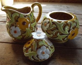 Vintage Fred Roberts Co. Ceramic Sugar bowl and creamer set / Kitchen decor / mustard yellow / container / kitchen storage / flowers / daisy