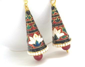Lotus Jhumka Earrings,Red,Green,Black,White And Gold Lotus Jhumka,Enamel Jhumka,Lotus Earrings