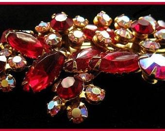 "Beau Jewels Red Rhinestone Brooch AB Pink Color Floral Design Gold Metal 2 1/4"" Vintage"