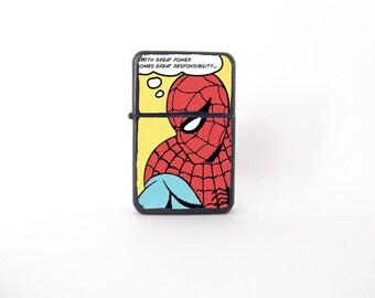 Spiderman lighter, Star smoking lighter, comics book lighter, Spiderman fan art, graphic novel lighter, groomsman gift, decoupage lighter