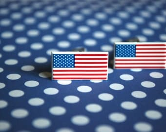 USA Flag Cufflinks -- USA, US Cufflinks, 4th of July, Independence Day Earrings, Red, White and Blue Flag