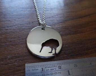 Silver Kiwi Bird Pendant Necklace