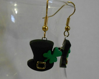St. Patrick's Day Top Hat Earrings