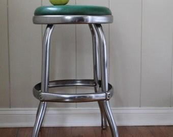 vintage green cosco stool // curvy leg stool // vintage soda shop stool