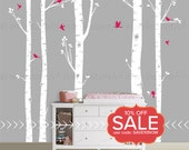 Birch Tree Decal with Flying Birds | Best Selling Five Birch Tree Wall Decals for a Woodland Nursery or Kid's Room Decor |  007