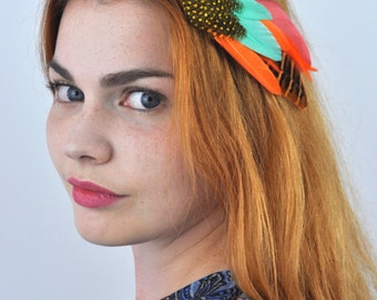 Tropical Feather hair Clip in Orange and Turquoise
