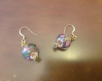 Beaded  Earrings lovely in Glass Pink Floral