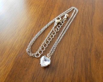 Vintage heart cz necklace.  Gold chain.  Valentine.