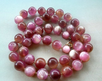 Vintage Moonglow Lucite Bead Necklace - Pink Mauve Mother of Pearl Beaded Necklace - 1950s 1960s - Matinee Length