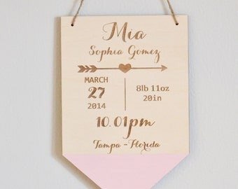 Birth announcement plaque, nursery wall decor, baby gift