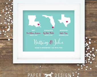 Love Story Map Gift Printable - Met Engaged Married Digital Poster