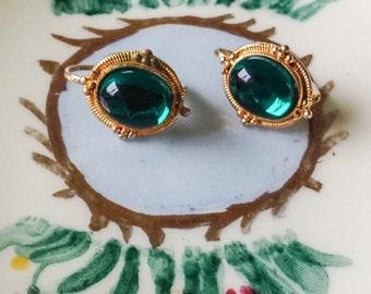 1930s Emerald Green Glass Earrings with Pierced Lever Backs