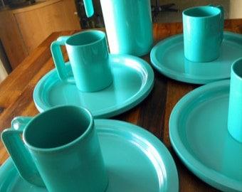 10-Piece Set of 1960's Kasen/Peter Pan Industries Aqua Melamine Servingware--Pitcher, 4 Mugs, 4 Plates--GREAT Color & Excellent Condition