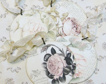 Set of 4 Shabby Chic Roses Upcycled Mini CD Christmas Ornaments