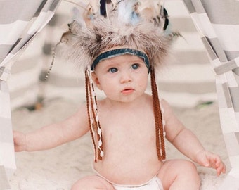 Little Chief Infant/toddler boys Headdress - Indian Headdress - Indian Party - Wild One - Indian Costume - Feather Headdress.