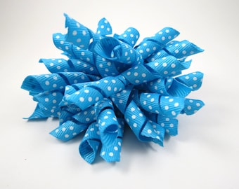 Turquoise Polka Dot Korker Hair Bow  -  Turquoise Hair Bow - Polka Dot Hair Bow - Turquoise White Polka Dot - Korker Hair Clip - Hair Clip