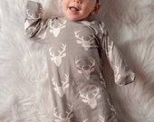 Grey deer sleeper, baby sleeper set, girls sleeper set, boys sleeper set, hat and mittens set, deer sleeper set, baby gown, sleep sack