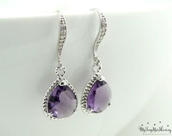 Wedding Earrings Bridal Earrings Purple Earrings  Amethyst Earrings Drop Earrings Dangle Earrings Bridesmaid Jewelry Bridesmaid Gifts
