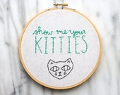show me your kitties customizable hand embroidered illustration in six inch hoop